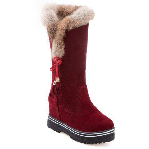 Shop Tassels Hidden Wedge Mid Calf Boots DEEP RED 39