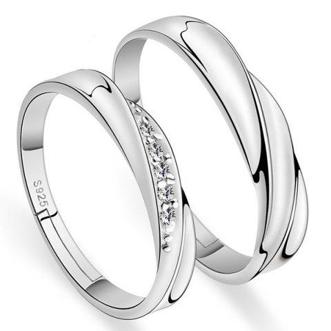 Chic Brief Polished Rhinestone Couple Rings