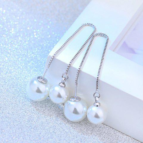 Latest Adjustable Faux Pearl Chain Earrings WHITE