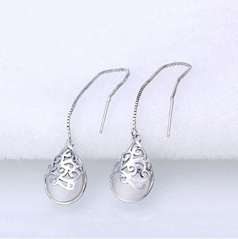 Buy Waterdrop Faux Gem Chain Earrings WHITE