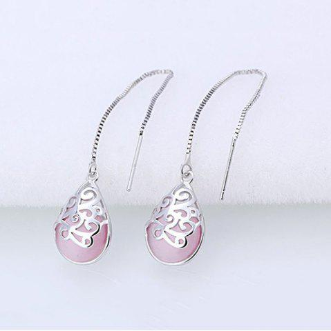 Unique Waterdrop Faux Gem Chain Earrings PINK