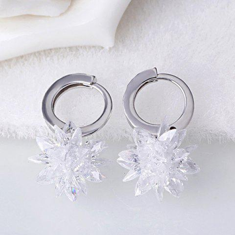 Best Faux Crystal Flower Pendant Earrings WHITE