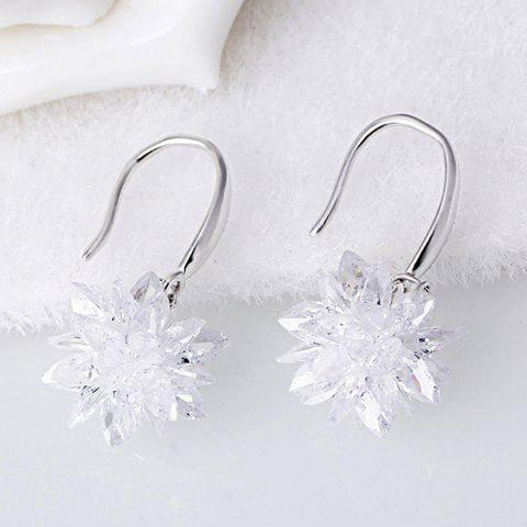 Outfit Faux Crystal Flower Hook Earrings WHITE