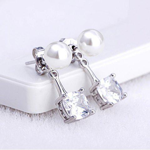 Chic Faux Pearl Square Rhinestone Stud Earrings WHITE