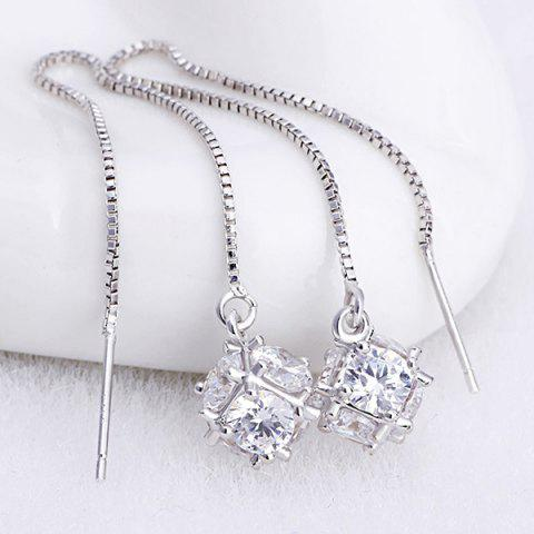 Store Rhinestone Inlaid Pendant Chain Earrings - SILVER  Mobile