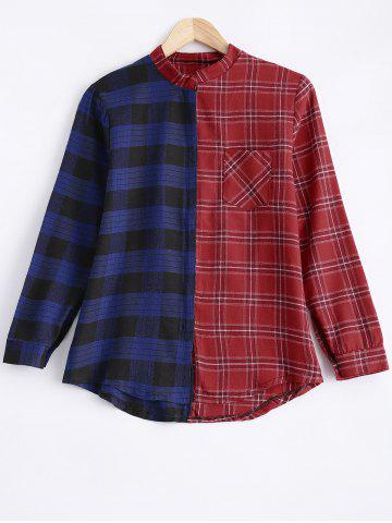 Online Stand Neck Color Block Checked Shirt