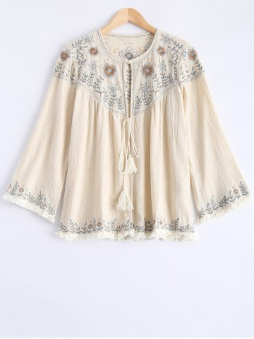 Shops Round Neck Long Sleeve Embroidered Blouse