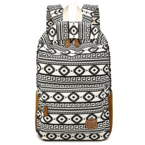 Affordable Ethnic Print Suede Splice Canvas Backpack