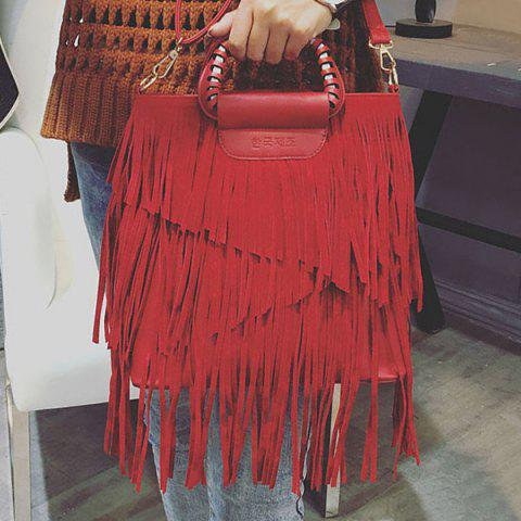 Sale PU Leather Fringe Metallic Tote Bag