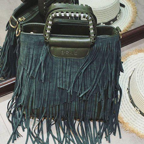Shops PU Leather Fringe Metallic Tote Bag - BLACKISH GREEN  Mobile