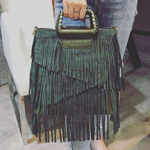 Store PU Leather Fringe Metallic Tote Bag - BLACKISH GREEN  Mobile