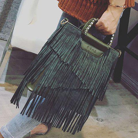 Buy PU Leather Fringe Metallic Tote Bag - BLACKISH GREEN  Mobile