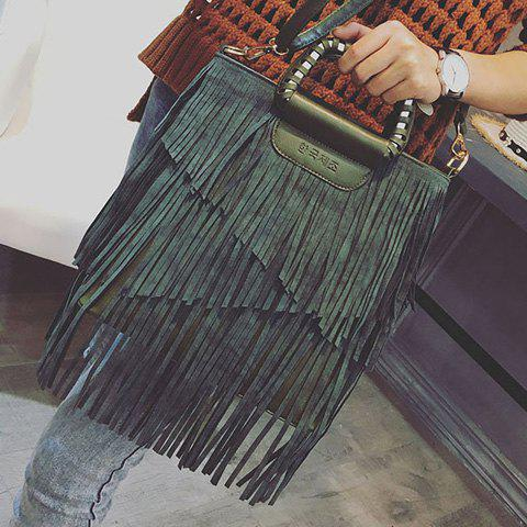 Hot PU Leather Fringe Metallic Tote Bag - BLACKISH GREEN  Mobile