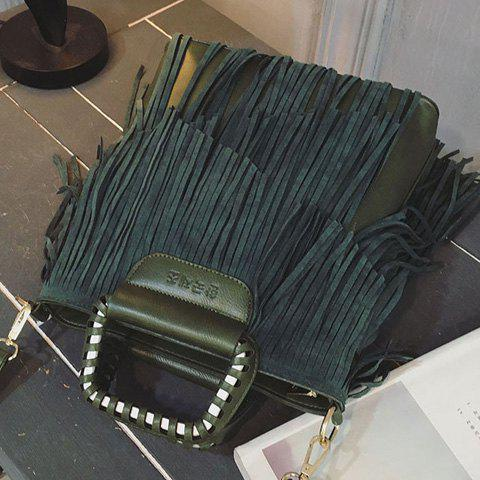 Affordable PU Leather Fringe Metallic Tote Bag - BLACKISH GREEN  Mobile