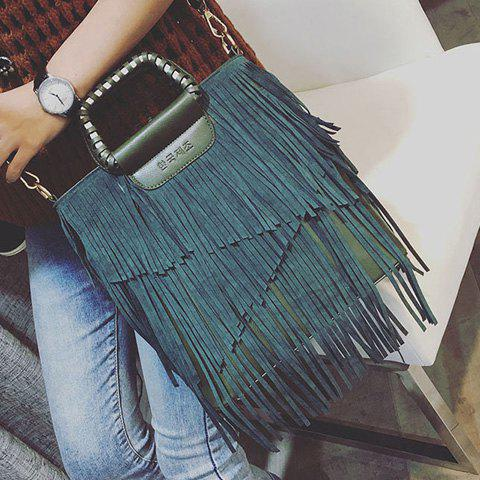 Fashion PU Leather Fringe Metallic Tote Bag - BLACKISH GREEN  Mobile