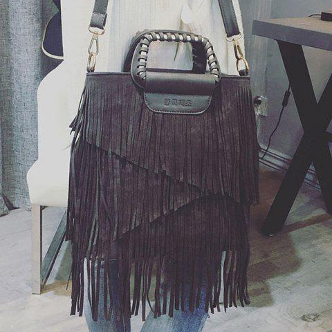 Buy PU Leather Fringe Metallic Tote Bag - DEEP GRAY  Mobile