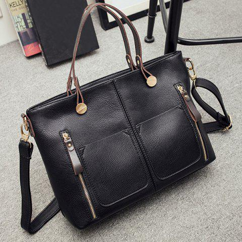 Shops Multi Zips PU Leather Handbag - BLACK  Mobile