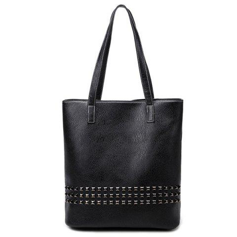 Fashion PU Leather Rivet Embellished Shoulder Bag BLACK