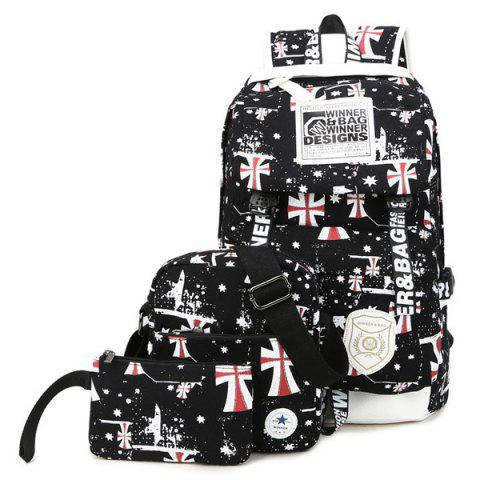 Trendy Canvas Stars Cross Print Backpack