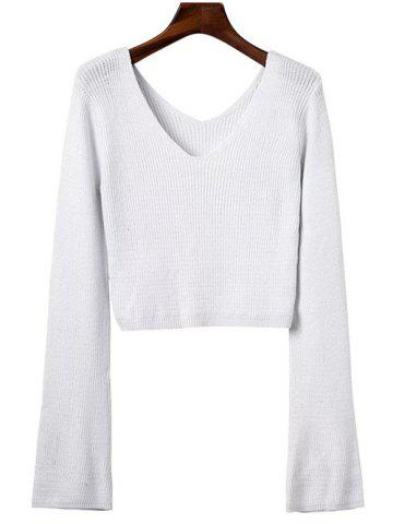 Outfit V Neck Crop Sweater WHITE ONE SIZE
