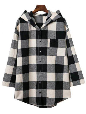 Trendy Hooded Oversized Long Flannel Shirt COLORMIX M