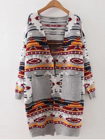 Outfits Open Front Geometric Longline Cardigan