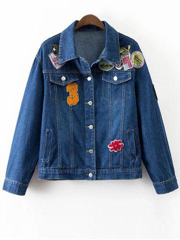 Affordable Patched Denim Jacket With Pockets DEEP BLUE L