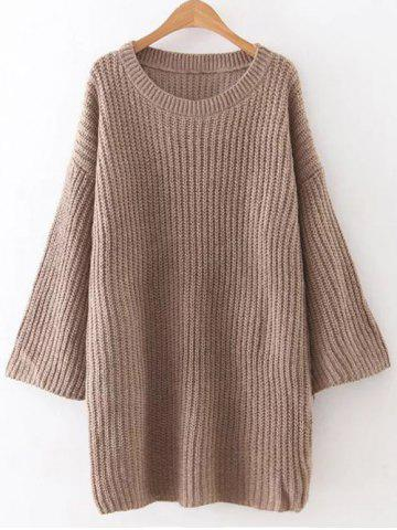 Trendy Tunic Casual Oversized Jumper Dress BROWN ONE SIZE