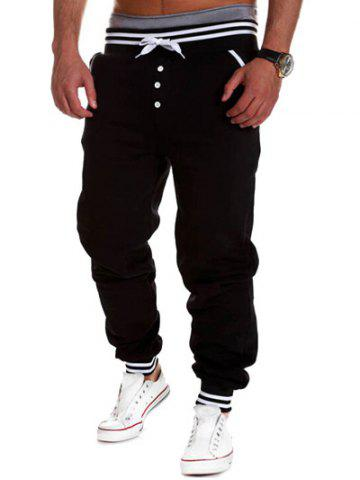 Shops Varsity Striped Buttoned Drawstring Jogger Pants - BLACK M Mobile