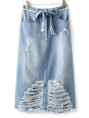 Hot Midi Distressed Denim Skirt With Pockets