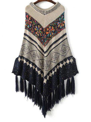 Cheap Sequined Jacquard Knit Poncho OFF-WHITE ONE SIZE