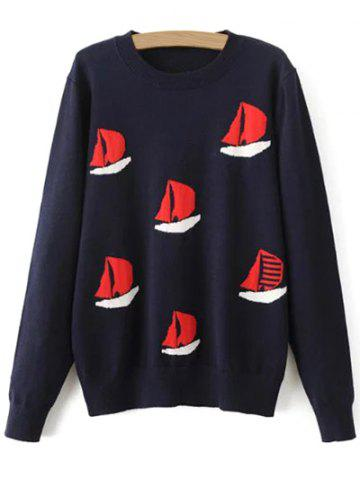 Chic Sailboat Pullover Sweater