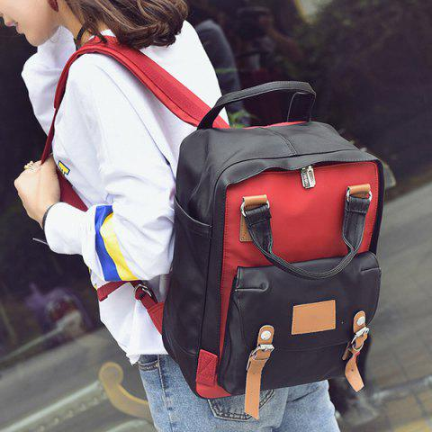 Trendy Nylon Double Buckle Color Block Backpack