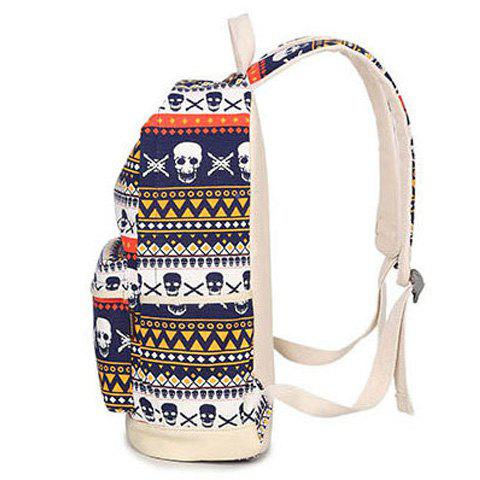 Cheap Canvas Geometric Skull Print Backpack - BLUE  Mobile