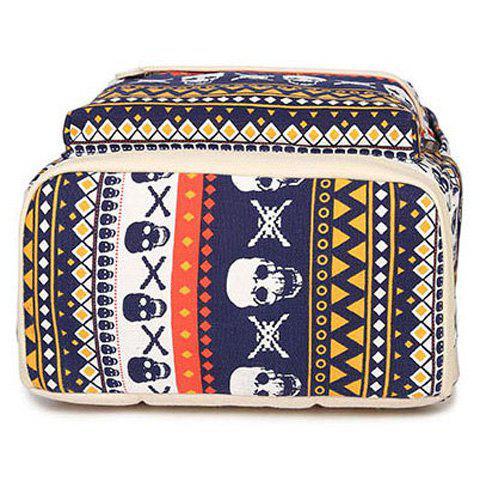 Chic Canvas Geometric Skull Print Backpack - BLUE  Mobile
