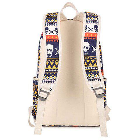 Outfit Canvas Geometric Skull Print Backpack - BLUE  Mobile