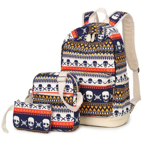 Best Canvas Geometric Skull Print Backpack - BLUE  Mobile
