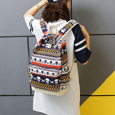 New Canvas Geometric Skull Print Backpack - BLUE  Mobile