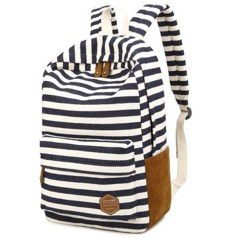 Chic Striped Suede Splice Canvas Backpack
