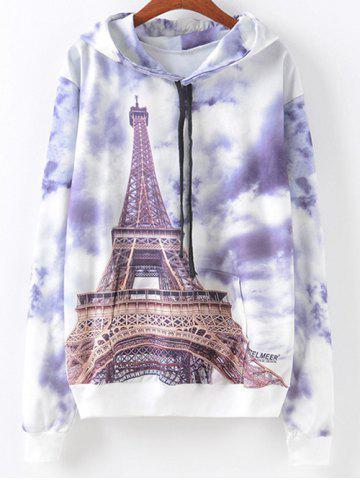 Hot Eiffel Tower Print Hoodie COLORMIX XL