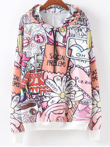 New Cartoon Letter Pattern Hoodie COLORMIX XL