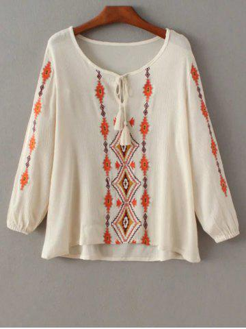 Outfits Embroidered Peasant Top With Tie Detail
