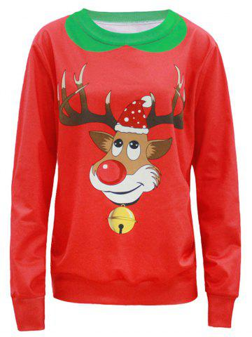Shop Pullover 3D Fawn Print Christmas Sweatshirt RED 4XL
