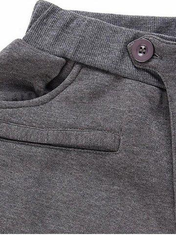 New Casual Pleated Insert Buttoned Jogger Pants - L DEEP GRAY Mobile