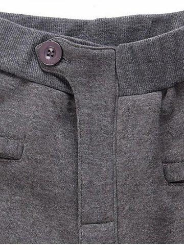 Trendy Casual Pleated Insert Buttoned Jogger Pants - S DEEP GRAY Mobile