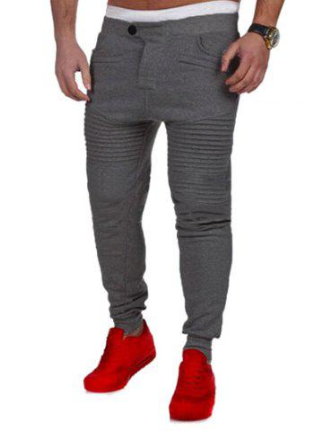 New Casual Pleated Insert Buttoned Jogger Pants - S DEEP GRAY Mobile