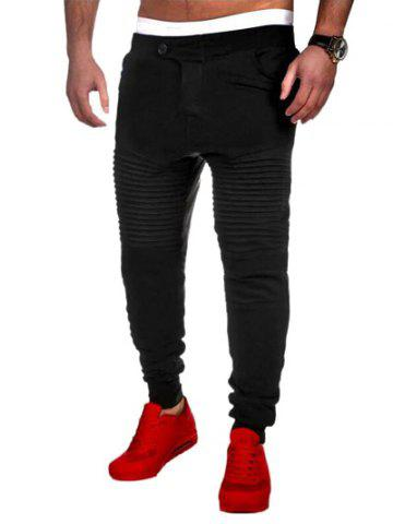 Fashion Casual Pleated Insert Buttoned Jogger Pants - M BLACK Mobile
