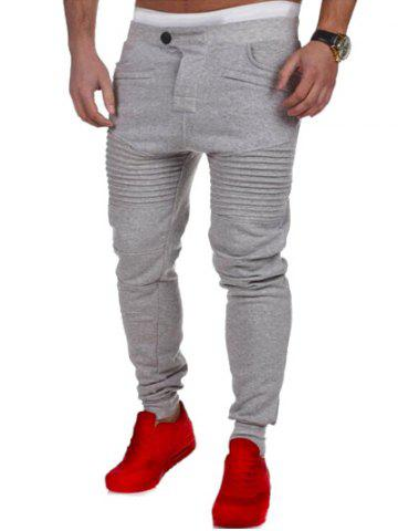 Trendy Casual Pleated Insert Buttoned Jogger Pants - M LIGHT GRAY Mobile