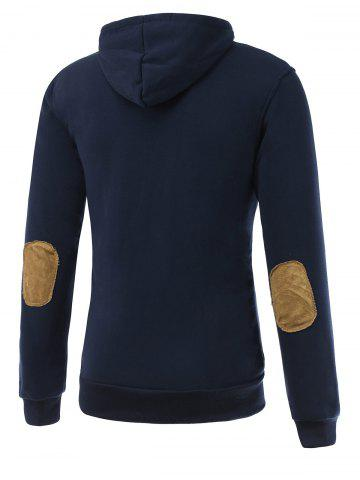 Fancy Elbow Patch Long Sleeve Drawstring Pullover Hoodie - M DEEP BLUE Mobile