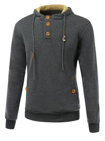 Elbow Patch Long Sleeve Drawstring Pullover Hoodie - Deep Gray - M